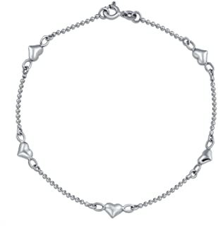 Multi Puff Hearts Charm Anklet Ankle Bracelet Per Donne Congolato Palla Rosa Vermeil Sterling Argento 9-10 Pollice