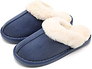 Guomao Waterproof Pick Burrs Home Skid Slippers Men and Women Indoor Warm Slippers Cotton Slippers (Color : Blue, Size : 40-41)