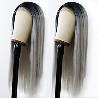 ANDRIA Kinky Straight Lace Front Wigs Side Part Long Ombre Grey Hair Wig Glueless Lace Wigs Synthetic Yaki Straight Wig He...