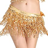 MUNAFIE Women's Belly Dance Hip Scarf Performance Outfits Skirt Festival Clothing Gold