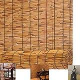 Persianas Enrollable de Caña para Patio,Toldo Vertical Estores para Ventana,Cortina de Bambú para Interior,Cortina Rollo de Paja,Sombrilla Romanas Natural,para Puertas y Ventanas(100x120cm/39x47in)
