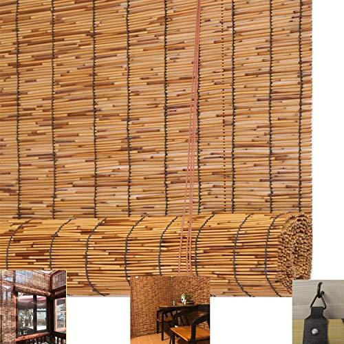 Natürlicher Bambusrollo Raffrollo Reed-Vorhang,Vintage-Dekorationsvorhänge-Bambus-Rollo,Reed Vorhänge mit Lifter,Wasserdichte Sonnenschutz-Rollläden,für Außenbereich/Patio/Tür(140x200cm/55x79in)