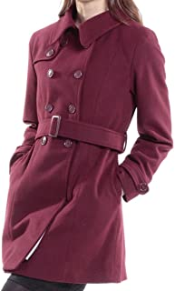 Keira Womens Wool Double Breasted Belted Trench Coat