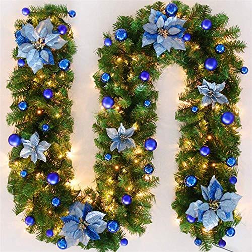 Kyman 270 cm langer Kranz aus künstlichem Tannenholz mit LED-Lampe, Dekoration für Weihnachtsbaum, Tür, Treppe, Kamin (blau)