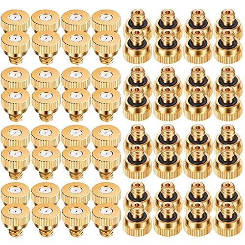 SMGPYLFJ Juego de 100 Boquilla De Nebulización De Latón, Boquillas de Latón de Repuesto, Boquilla Atomizadora Baja Presión de Latón Boquilla de Enfriamiento y Humidificación, 10/24 UNC