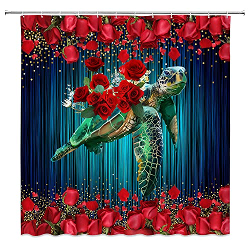 Sea Turtle Shower Curtain Red Rose Teal Tortoise Ocean Marine Funny Animal Spring Blooming Romantic Floral Plant Valentines Day Creative Art Fabric Decor for Bathroom Curtain with Hook