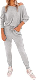 Fixmatti Women's 2 Piece Outfit Long Sleeve Loose Tops with Leggings Sweatsuit Tracksuit