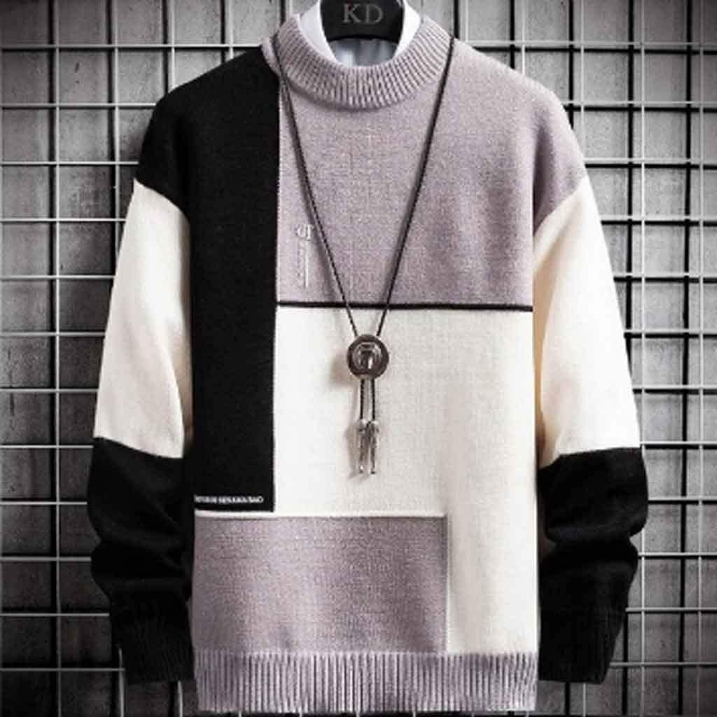 ZYING New Winter Cashmere Warm Sweater Men Turtleneck Mens Pullover Patchwork Slim Fit Sweaters Tops Knitted Men's Christmas Jumper (Color : C, Size : L Code)