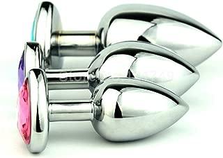 B-ütt Plug 5 Pcs/lot Hot Metal Heart Shape an-âl Plug Crystal Jewelled B-ütt Plug Medium Size Erótīc an-âl S-ê-x-Toys for Women Men GS0208,Dark Purple,Bootie Plug B-ütt Jewelry