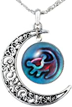 Joyplancraft Lion King Inspired Necklace Crescent with Rafiki Simba Drawing Glass Dome Necklace Friends Gift
