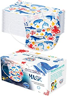 50pcs Children Costume Cotton Face_Masks Cartoon Print Bandana Dìsposable for Kid Student