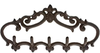 Comfify Cast Iron Wall Hanger – Vintage Design with 5 Hooks - Keys, Towels, etc - Wall Mounted, Metal, Heavy Duty, Rustic, Vintage, Decorative Gift Idea - 12.9X 6.1""