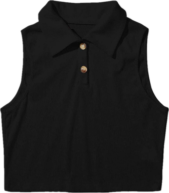 Women's Cool Casual Half-Button Placket Cropped Tank Neckline Vest Blouse
