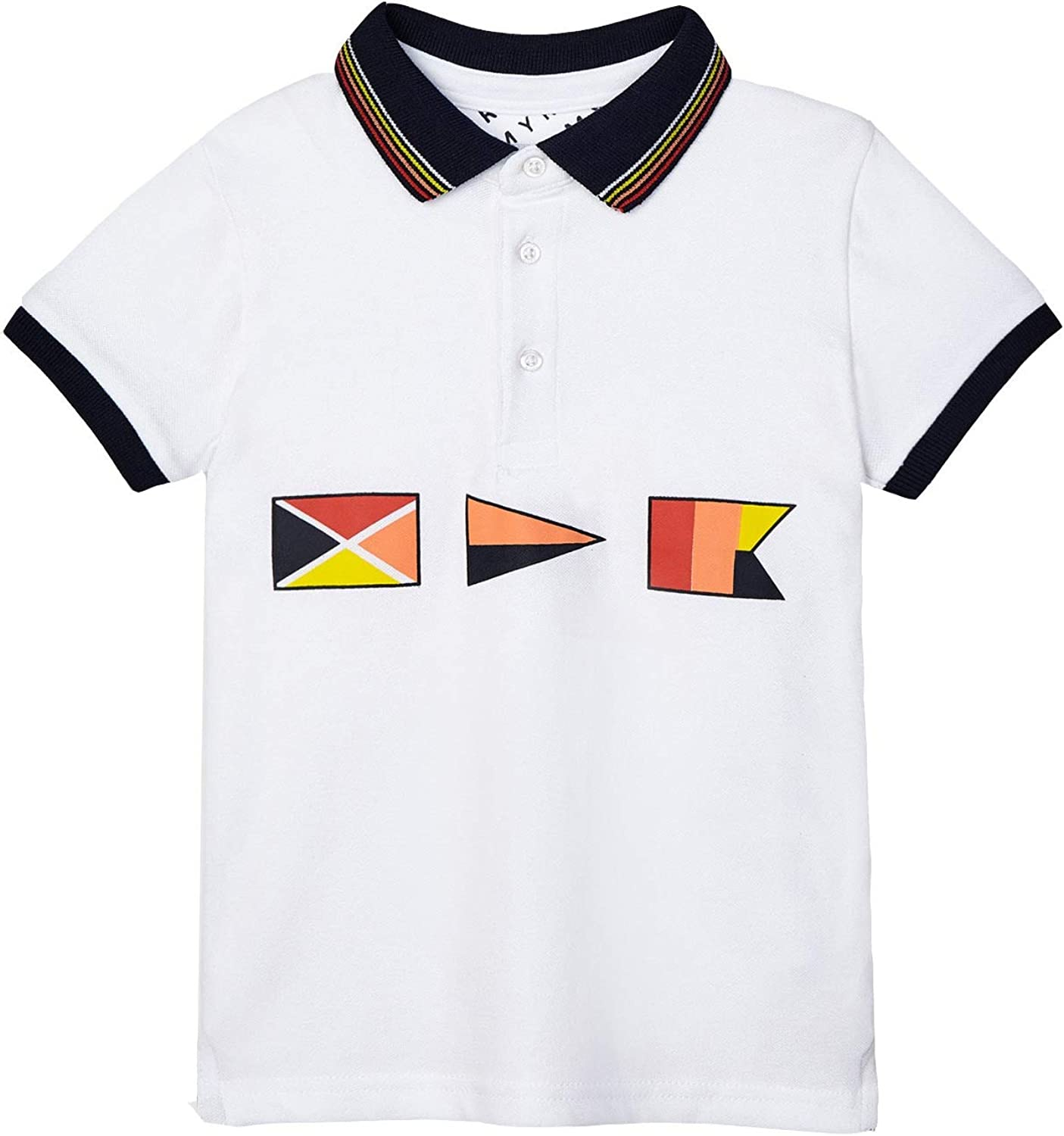 Mayoral - Printed s/s Polo for Boys - 3105, White