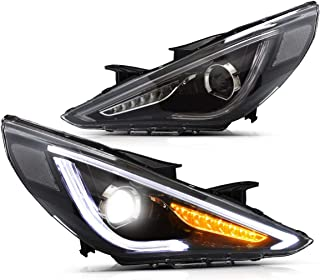 YUANZHENG Projector LED Headlights for Hyundai Sonata 2011 2012 2013 2014 with Sequential Turn Signals Demon Eye YAA-SNT-0171B