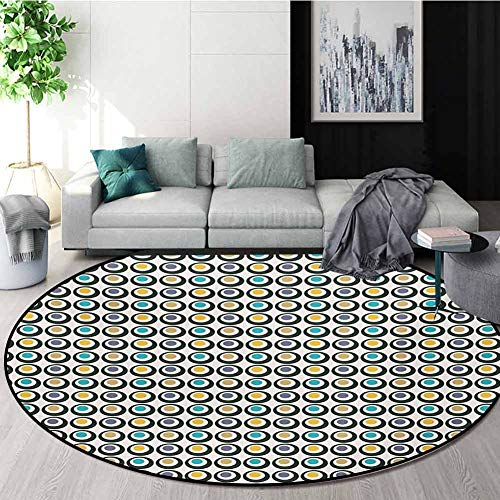 Best Price RUGSMAT Retro Small Round Rug Carpet,Bold Circles with Colorful Polka Dots Old Fashioned ...