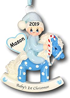 Personalized Baby Boy's First Christmas Baby on Polka Dot Rocking Horse with Glittered Santa Hat Christmas Tree Ornament with Name and Date