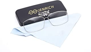 JENRICH Clip On Reading Glasses, Clip On Flip Up Hassle Free Lenses, High Magnification Power Readers Reading Glasses Anti Eyestrain Scratch Smudgy for Men and Women Includes Glasses Case