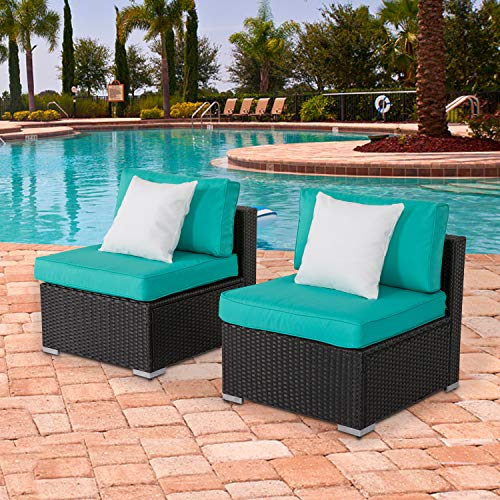 Kinbor Patio Loveseat Wicker Armless Chairs, All Weather Black PE Wicker Sofa Chair, Additional Seats for Sectional Sofa with 2 Pillows