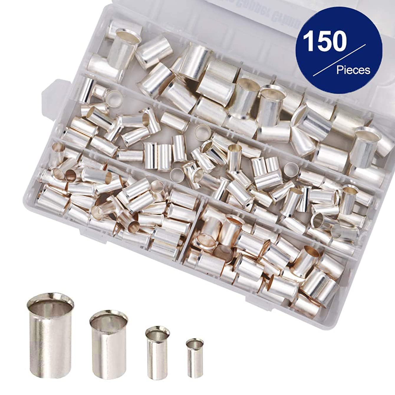 150 Pcs Wire Copper Crimp Connector, 4 Types(AWG 4,2,1,2/0) Non Insulated Cable Housing Wire Ferrules Pin Cord End Terminal Assortment Kit(Pack of 150)