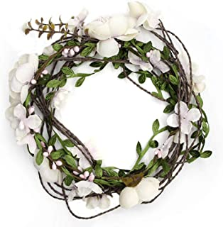 Fashband Adjustable Flower Crown Headband Bridal Floral Hair Wreath Rattan Flower Garland Headpiece for Wedding Festival Vacation