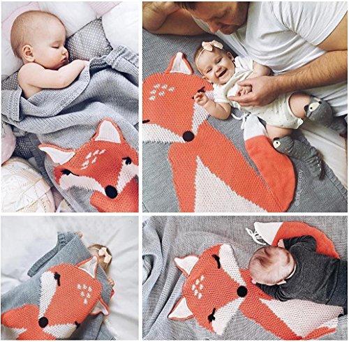 Covermason Babydecke Kinder Fuchs Strickdecke Spielen Decke Für 0-6 Alter Kinder Baby, 75 * 105cm (Grau)