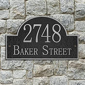 Vintage Arch Address Plaque Home Address Sign Decorative Personalized House Garden Wall Sign 911 Visibility Signage Any Font - Any Number and Letters 13 x 8 inches  Silver