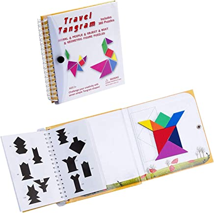 SEALEN Tangram Game Travel Games Puzzles Book , 360 Questions Build Animals People Objects with 7 Simple Colorful Shapes, Kid Adult Challenge IQ Educational Book