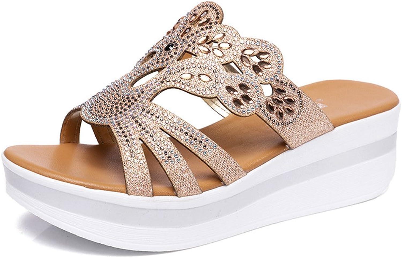 Btrada Women's Wedge Sandals Platforms Casual Mid Heel Slides Open Toe Slip On Outdoor Dress shoes