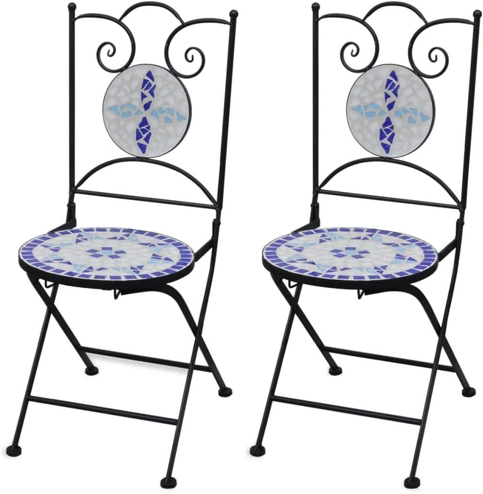 vidaXL Set 2 sillas Mosaico Asiento cerámica jardín terraza balcón azúl Blanco