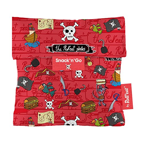 Roll'eat - Snack'n'Go Kids Bolsa Merienda Porta Sandwich Ecológica y Reutilizable sin BPA, Piratas Rojo