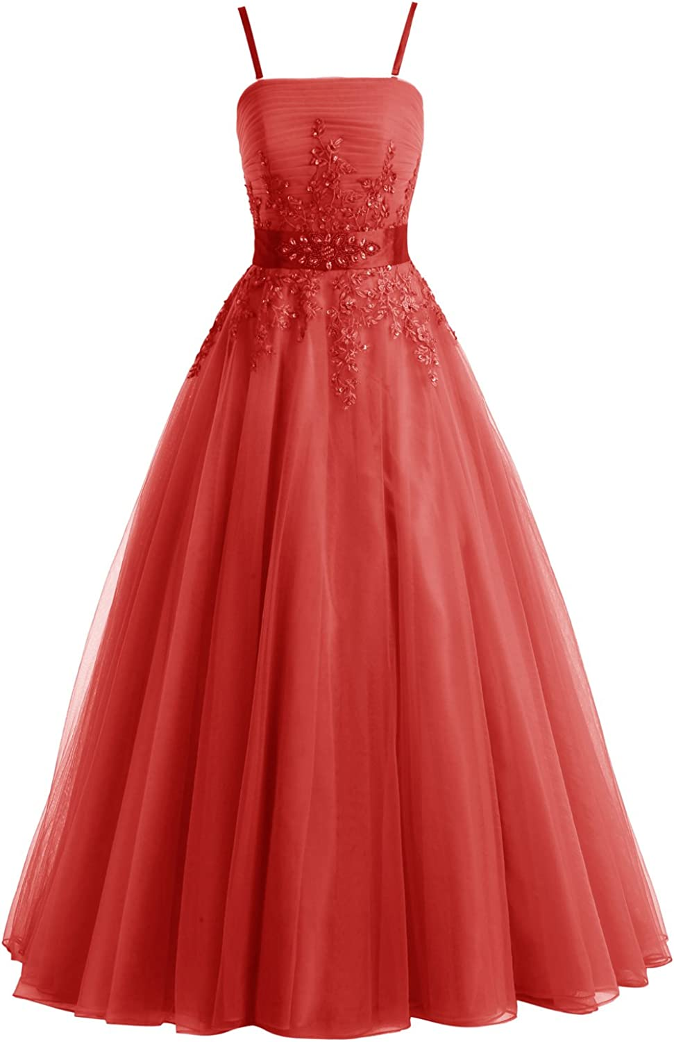 Bbonlinedress Long Tulle Appliques Prom Dresses Beaded ALine Formal Evening Gowns