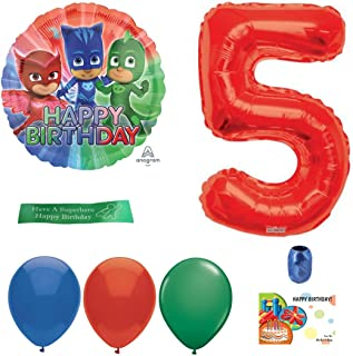 PJ Masks Party Supplies Including Balloons, Number, Curling Ribbon and Printed Ribbon - 5th Birthday