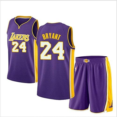 YDYL-LI Lakers De Los Angeles 24  Kobe Bryant Maillot De Basket-Ball Uniforme Uniforme Veste De Sport sans Manches courtes Compétition Uniformes Uniformes Fans VêteHommests De Basket (S-XXXL),bleu,XS