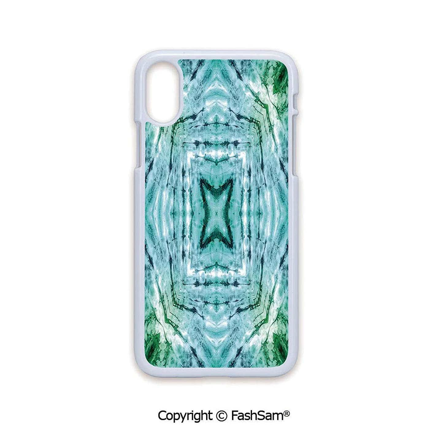 Plastic Rigid Mobile Phone case Compatible with iPhone X Black Edge Star Inside Square Shaped Kaleidoscope Tie Dye Motive with Outer Figures Image 2D Print Hard Plastic Phone Case