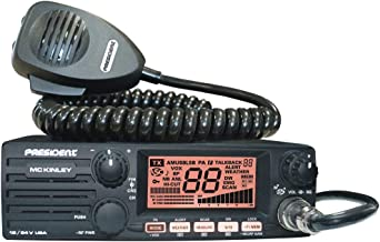 President Electronics MC KINLEY USA Hm AM/SSB Tranceiver CB Radio, 40 Channels, 7 Weather Channels, Channel Rotary Switch, Volume Adjustment and ON/OFF, Multi-functions LCD Display, 12/24V