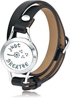 Stainless Steel Aromatherapy Essential Oils Diffuser Locket Breathe Bracelet