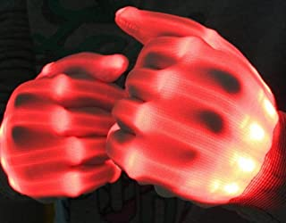 Sprint4deals Halloween Scary Gloves, Skeleton Scary LED Gloves Glow in Dark LED Skeleton Gloves Haunted Costume Accessories (Red)