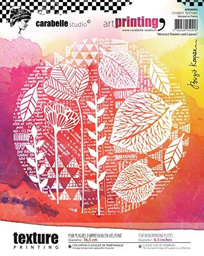 Carabelle Studio Sello de Goma con Textura en Forma Rectangular Art Printing,Flores y Hojas, para Placas de Gel monoprint