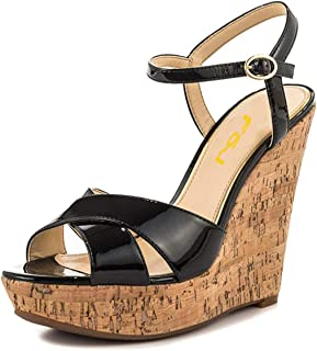 Women Peep Toe Platform Cork Wedge High Heel Ankle Strap Summer Sandals Party Pumps Size 4-15 US