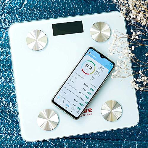 Bilancia Pesa Persone sinocare Intelligente Bluetooth Pesapersone Digitale Impedenziometrica Senza Fili Intelligente per IOS e Android Integrata con 12 Indici di,Metabolismo Basale, Peso Corporeo, BMI