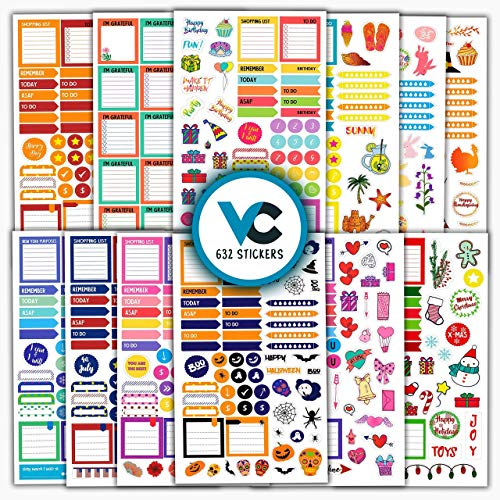 Planner Stickers (More Than 630 pcs) Productivity, Seasonal and Decorative Stickers for Planners, Bullet Journals and Calendars - Essential Planner Accessories by Vladi Creative