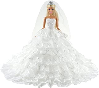 BARWA Wedding Dress Princess Evening Party White Dress Gown with Veil for 11.5 inch Dolls