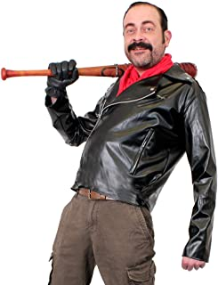 Mens Negan COSTME Fancy Dress Leather Look Biker Jacket + Bandana (Small - XXL)
