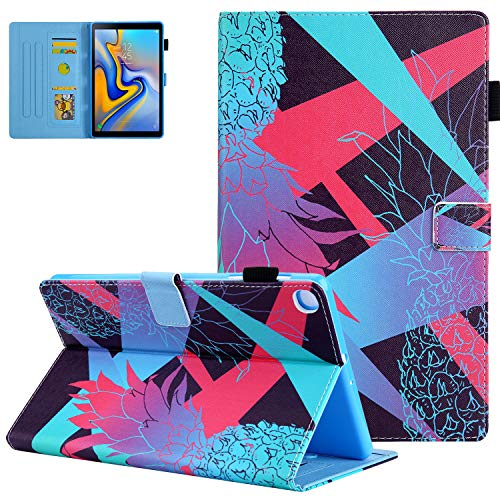 PU Leather Folio Case for Samsung Galaxy Tab A7 10.4 2020 Release (SM-T500/T505/T507), UGOcase Premium Shockproof Multiple Angles Magnetic Closure Case Wallet Cover for Tab A7 10.4 - Color Pineapple
