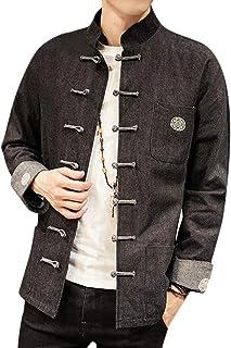 HX fashion Camisa De Hombre Retro Tradicional Chino Traje Kung Fu Tamaños Cómodos Bordado Camisa Para Hombres