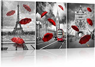Kreative Arts 3 Piece Black and White Eiffel Tower with Red Umbrella on Paris Street Painting Big Ben in London Romantic Picture Framed Artwork Prints Canvas Set of 3 Ready to Hang 16x24inchx3pcs