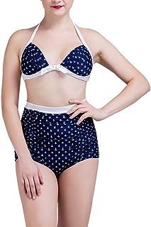LilyAngel ハイウエストビキニ水着2ピース包帯女性用温泉水着(S-XXXL) (Color : ブルー, サイズ : XL)
