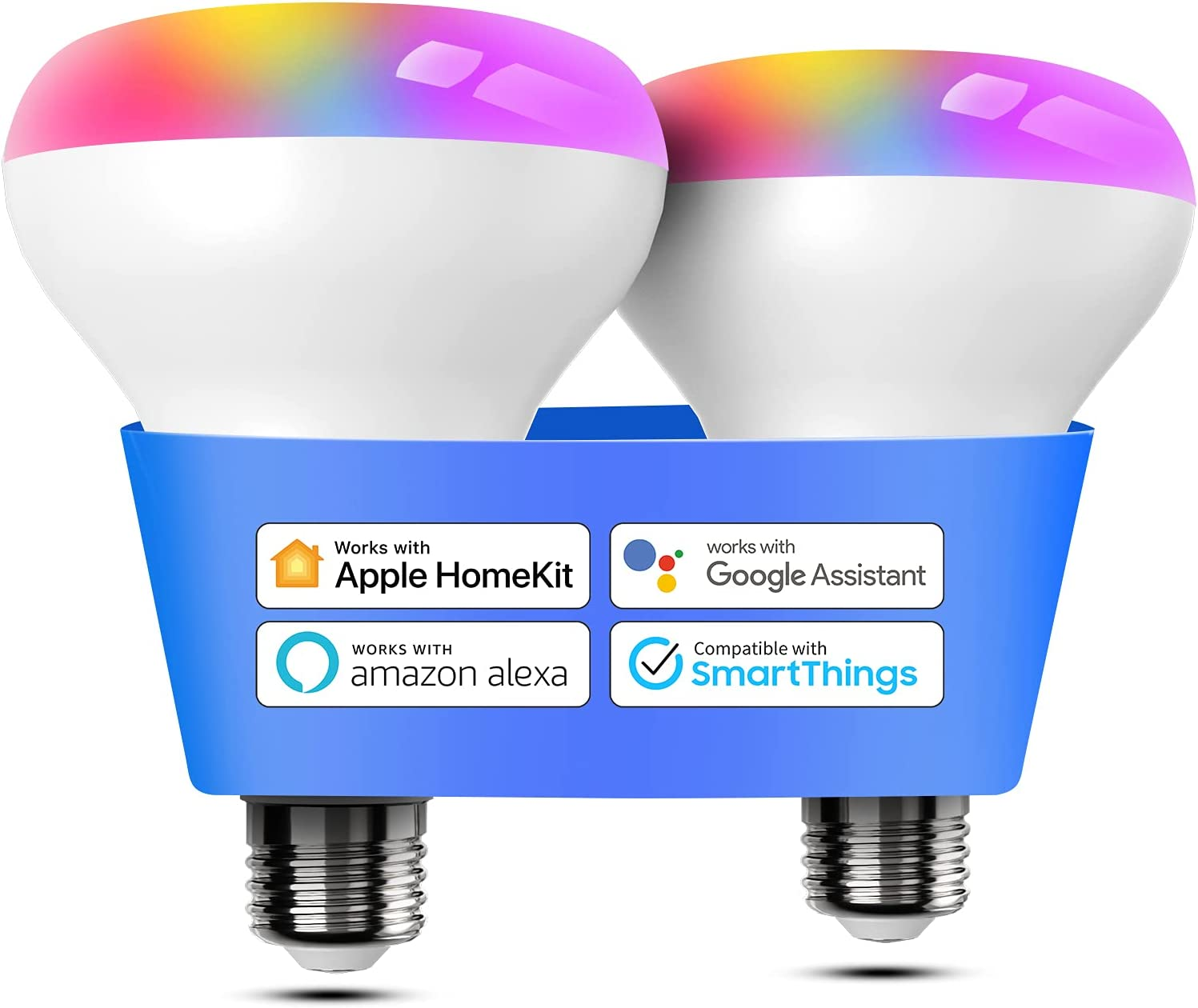 Smart Light Bulb, Meross BR30 Flood Wi-Fi LED Bulbs Compatible with Apple HomeKit, Alexa, Google Assistant and SmartThings, Dimmable E26 Multicolor 2700K-6500K RGB, 1300 Lumens 100W Equivalent, 2 Pack
