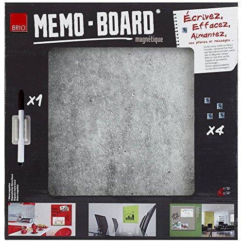 Brio 34558 Memo Board schrijfbord magnetisch beton 40 x 40 cm glas grijs 4 x 40 x 40 cm
